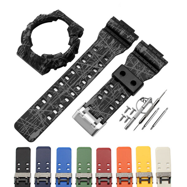 Silicone Watch Strap with Case for Casio G-SHOCK  Male GA-110 GA100 GA120 GA150 GA200 GA200 GA300  GD-120 /100/110  GAX-100 Silicone Set Attached tool(Burst gray and camouflage gray are the same) Malaysia