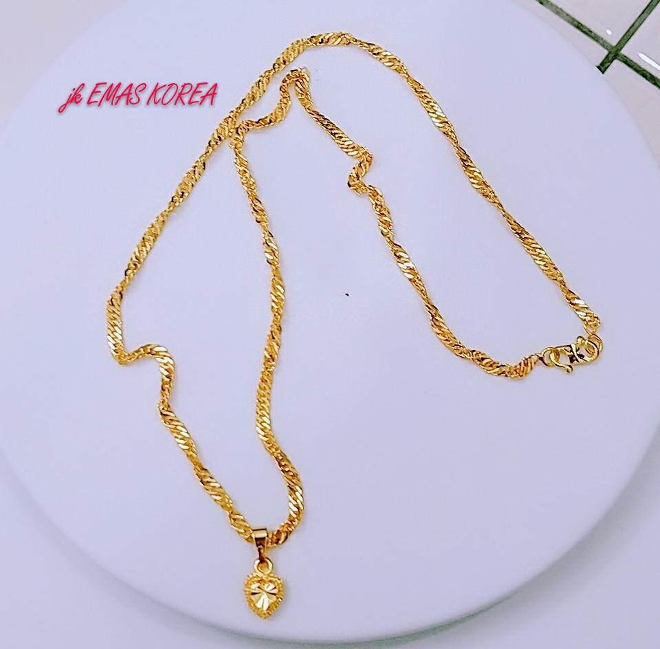 EMAS KOREA Jewellery necklaces gila-gila 45cm+pendant love golden plated