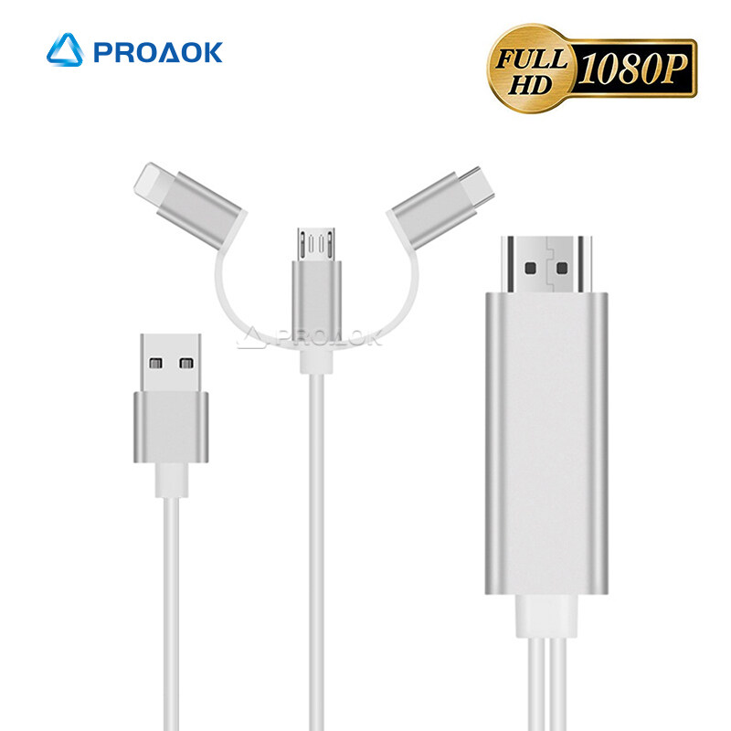 3 in 1 Compatible with iPad iPhone to HDMI Cable,Micro USB to HDMI Cable,USB C to HDMI Cable,【for IOS//Android】Phone to 1080P TV//Projector//Monitor,Compatible with iPhone,iPad,Samsung,HUAWEI Etc