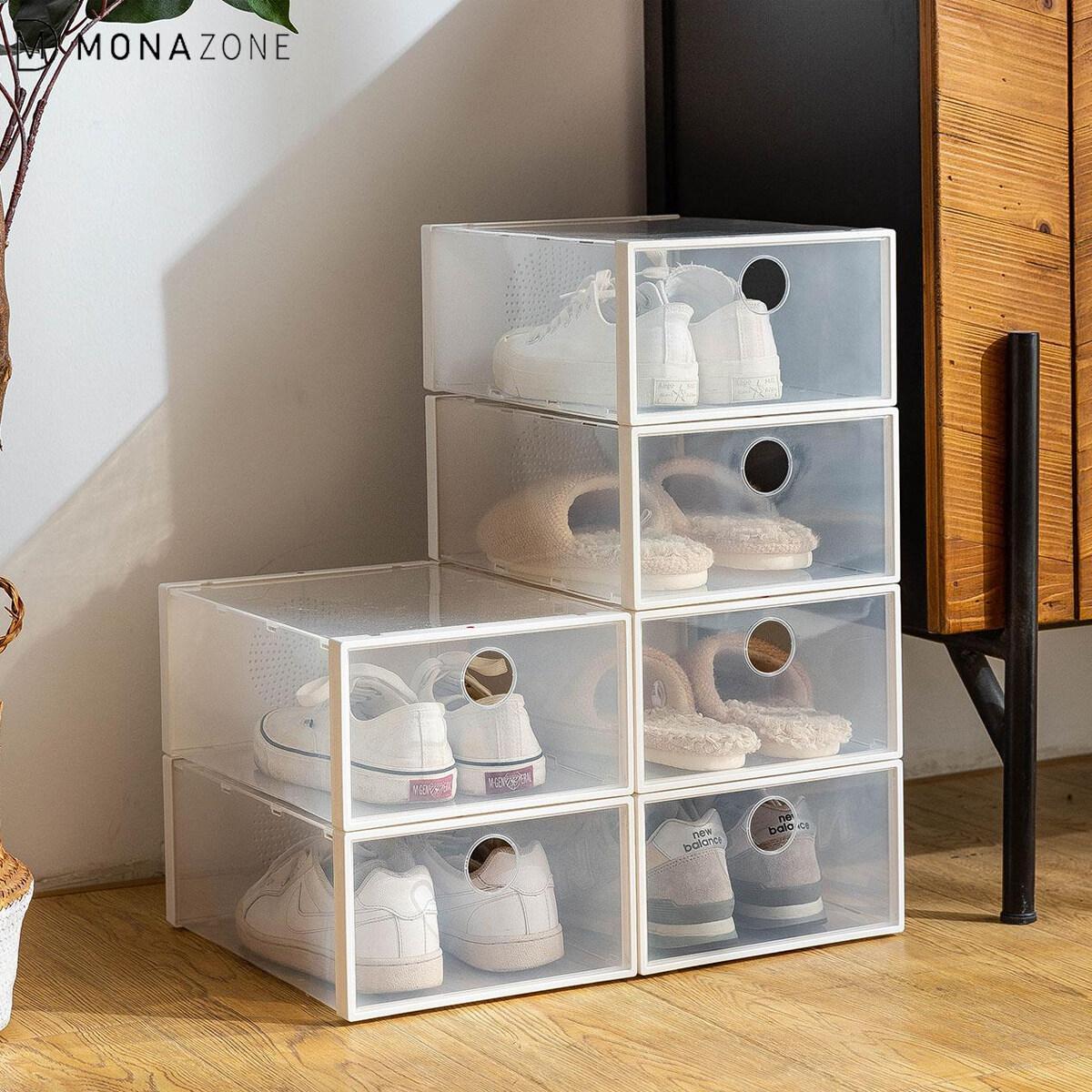 MONAZONE Transparent Stackable Shoe Box Storage Box Clear Plastic Thicken Drawer Dustproof Moisture-proof Household Shoes Drawer Storage Box( 2 pcs)