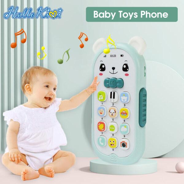 HelloKimi điện thoại đồ chơi cho bé điện thoại đồ chơi điện thoại cho bé đồ chơi trẻ em sơ sinhBaby Cell Phone Toy Cover Music Lights for Over 6 Months Old Kids