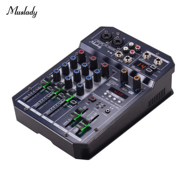 Muslady T4 Portable 4-Channel Sound Card Mixing Console Audio Mixer Built-in 16 DSP 48V Phantom power Supports BT Connection EU PLUG Malaysia