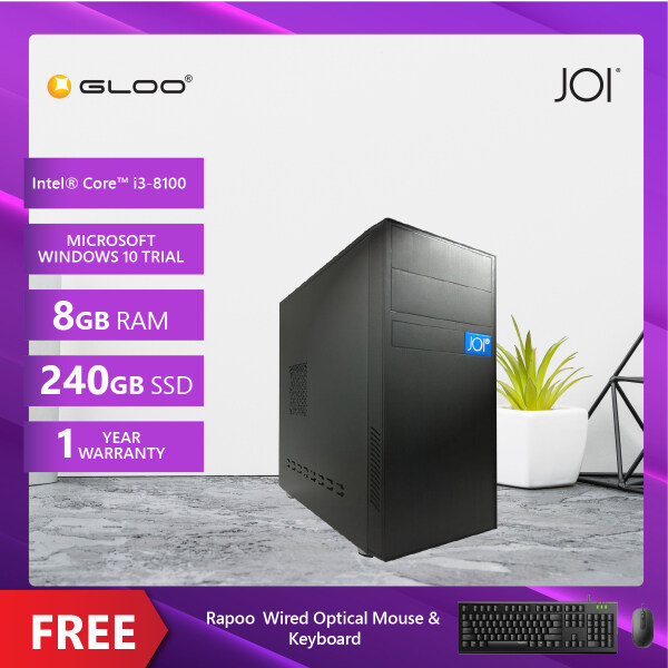 JOI PC 1080 (i3-8100/8G/240GB SSD/DOS) Free Combo Wired Keyboard+Mouse Malaysia