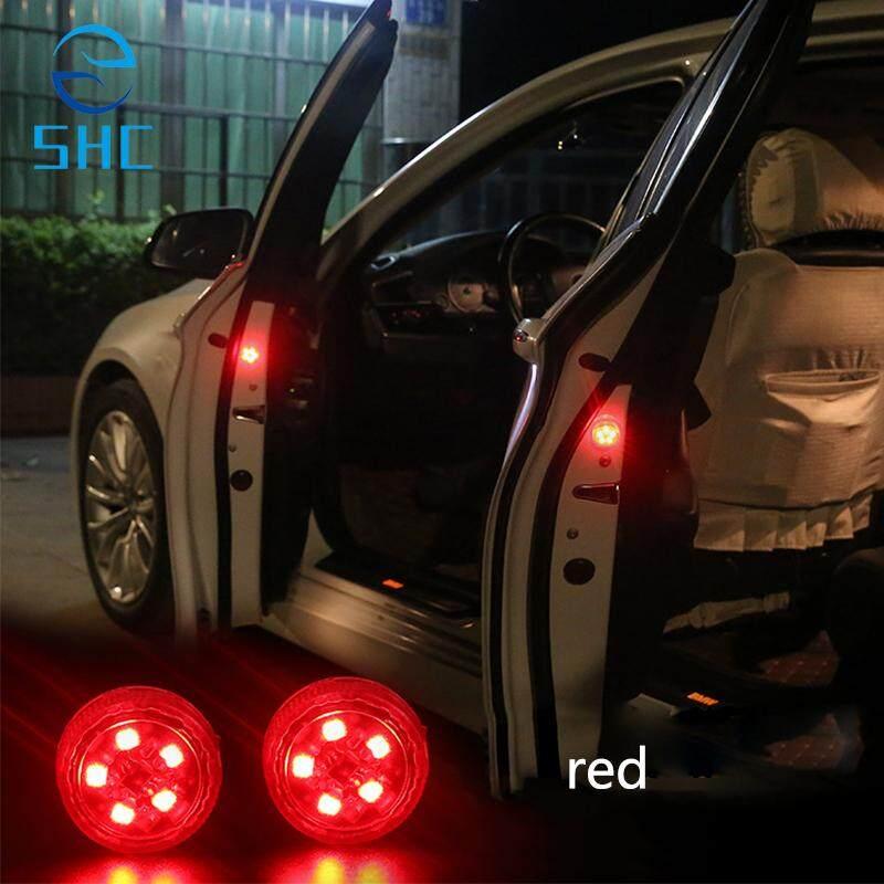 SHC 2 Pcs Magnetic Nirkabel LED Mobil Pembuka Pintu Peringatan Lampu Tahan Air Strobo Berkedip Anti Belakang Tabrakan LED Lampu Pengaman (kuning)