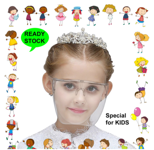 Protective Face Shield for Kids - Transparent Face Shield - Glasses (Ready stock)