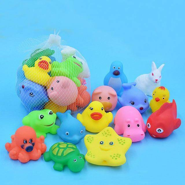13 Pcs Mixed Animals Swimming Water Toys Colorful Soft Floating Rubber Duck Squeeze Sound Squeaky Bathing Toy For Baby Bath Toys By Lmzp Fashion.