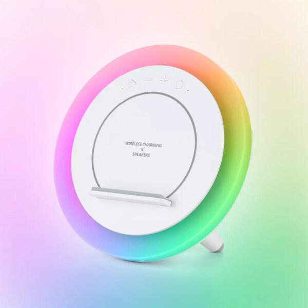 Sạc Không Dây Huaqu, Đèn Bàn Nhiều Màu RGB 10W Loa BT5.0 Đèn Nhiều Màu, HQY-02 Tương Thích Với Xiaomi Iphone Samsung