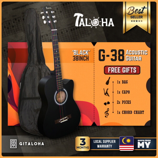 [Ready Stock] Taloha Acoustic Cutaway Matte Guitar 38-Inch Essential Package + Free Bag + Free Capo + Free Chord Chart + Free 2 Picks  (Natural / Black / Sunburst) Malaysia