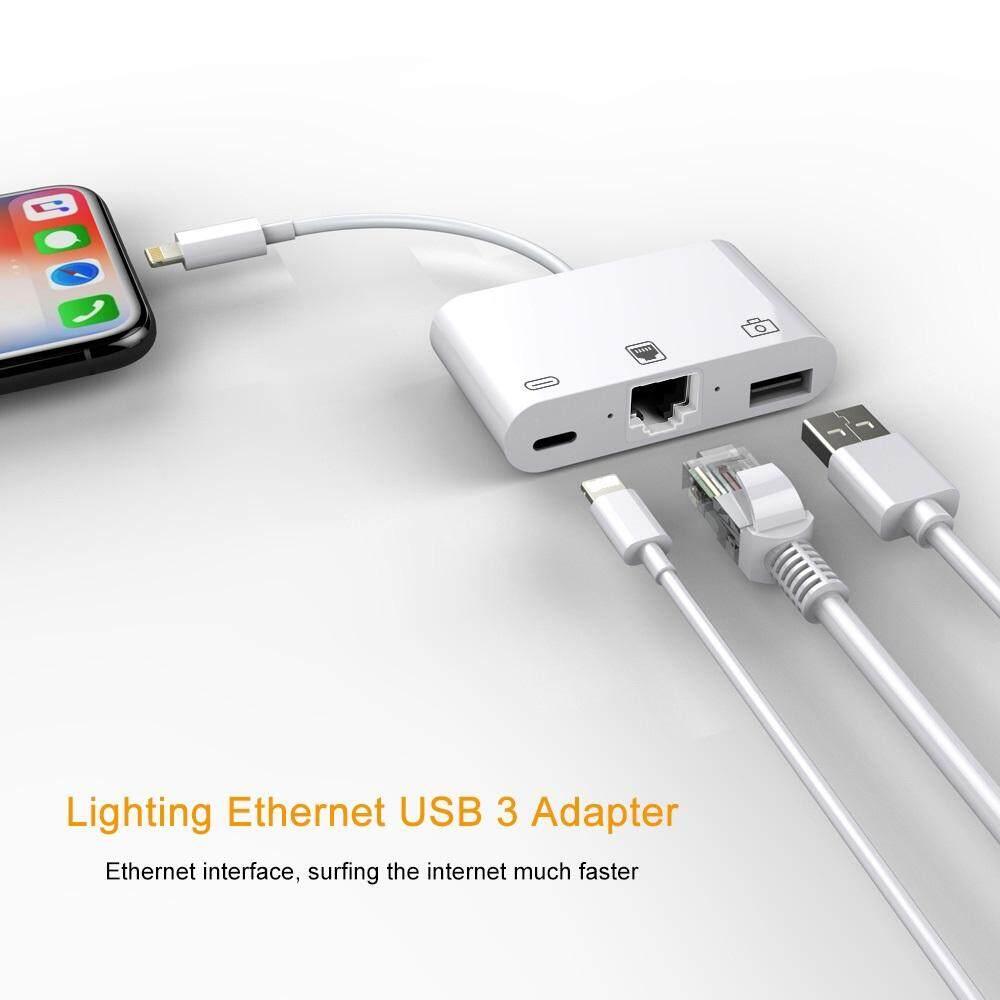 3-in-1 Lightning to Lightning + USB 3 0 + RJ45 Ethernet LAN Port OTG  Adapter/ Type C Ethernet OTG Adapter