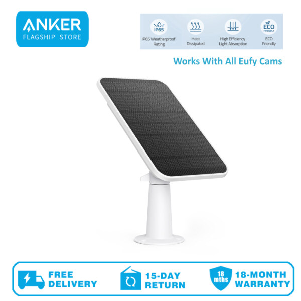 Eufy T8700 eufyCam Solar Panel, Compatible with eufyCam, Continuous Power Supply, 2.6W Solar Panel, IP65 Weatherproof