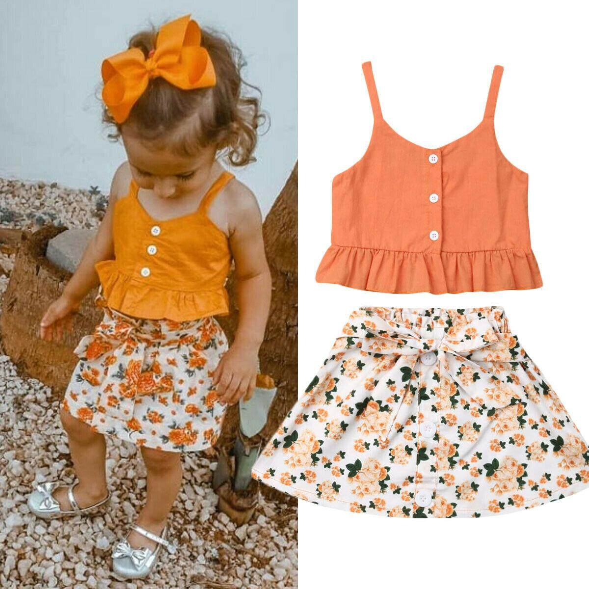 Toddler Baby Girls Ruffle Sling Tops+Skirts Dress Outfit Set Kids Summer Clothes