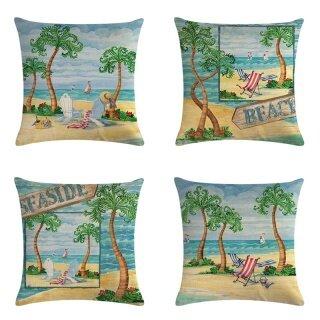Vỏ Gối Sofa In Hình Cây Bãi Biển, Vỏ Gối Tựa Lưng Phòng Khách thumbnail