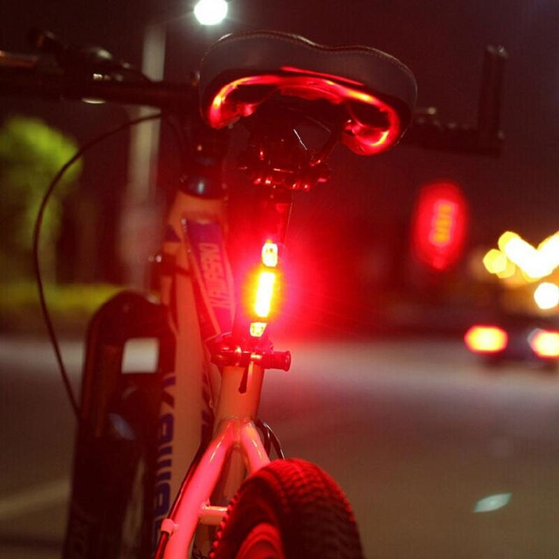 Rear Safety Warning Light Bike Tail 5 LED Bicycle Cycling USB Rechargeable Red Y