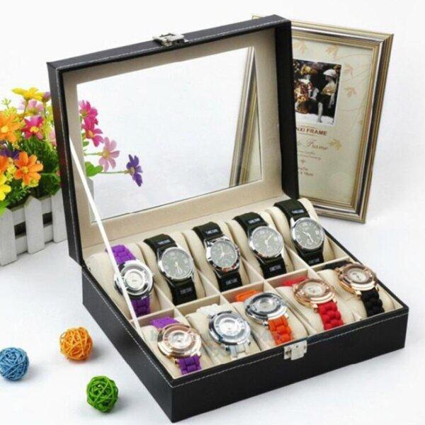 Leather 10 Slot Watch Box Glass Top Watch Jewelry Display Case Organizer Malaysia