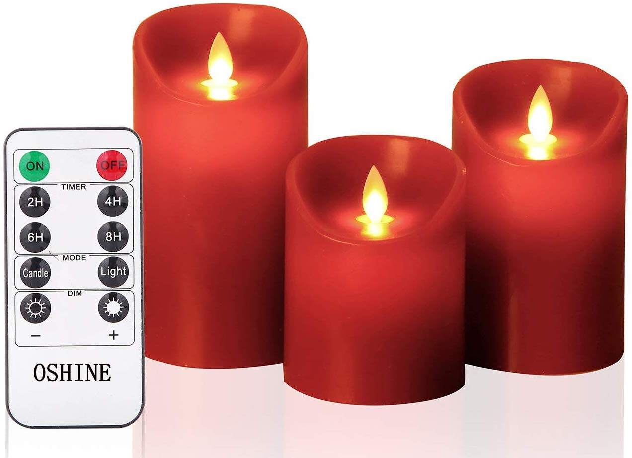 New Year Gift Oshine 3Pcs Red LED Flameless Candles With Remote Control and Timer