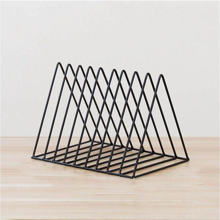 ANEXT Triangle Books Storage Rack Iron Study Living Room Newspaper Storage Holder