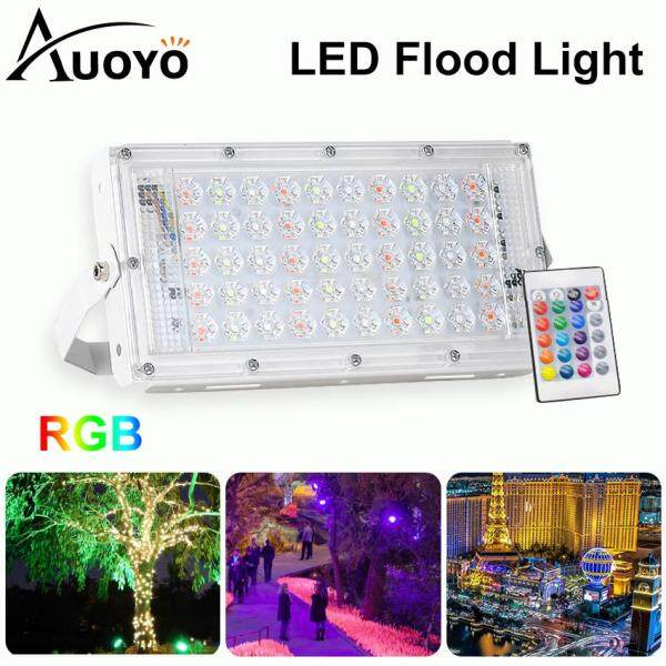 Auoyo LED Flood Light 220V Outdoor Lighting IP66 Waterproof 50W RGB Floodlights 7 Colors Changing Spotlights Landscape Lamp with Remote Control for Stage Garden