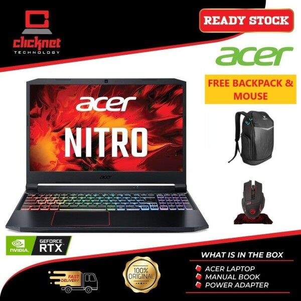 ACER Nitro 5 AN515-57-78PJ (i7-11800H 16GB RAM DDR4,512GB SSD,RTX3060-6GGB,W10,15.6 FHD IPS 144Hz 3ms,2YR)FREE GAMING BACKPACK+MOUSE,MOUSEPAD Malaysia