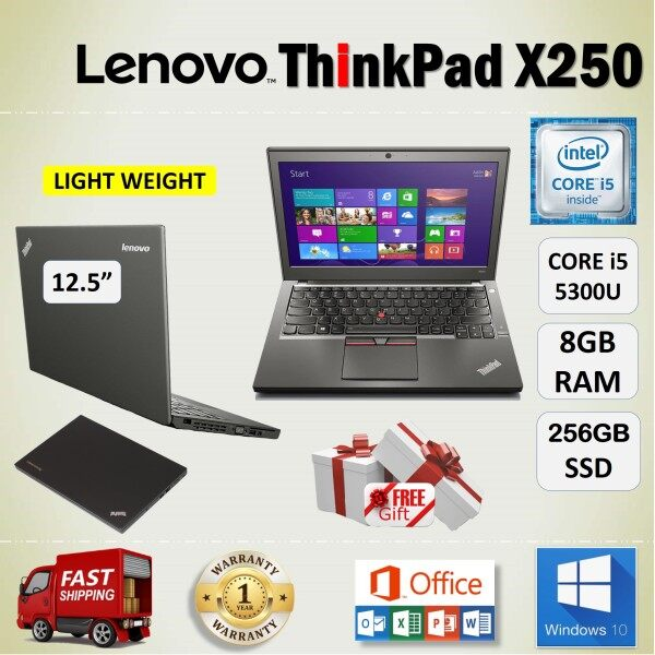 LENOVO ThinkPad X250 CORE i5- 5300U / 8GB DDR3 RAM / 256GB SSD / 12.5 inch SCREEN / WINDOWS 10 / 1 YEAR WARRANTY / FREE GIFT / REFURBISHED NOTEBOOK / LIGHT WEIGHT LAPTOP / CORE i5 LAPTOP / LENOVO LAPTOP GRADE A Malaysia