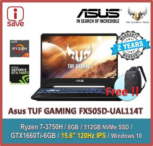 ASUS Gaming Laptop TUF Gaming FX505D-UAL114T 15.6  FHD 120Hz IPS Black ( Ryzen 7 3750H, 8GB, 512GB SSD, GTX1660Ti 6GB, W10 ) Malaysia