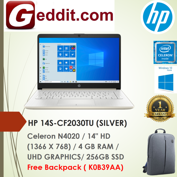 HP 14S-CF2030TU LAPTOP (CELERON N4020,4GB,256GB,14 HD,UHD GRAPHICS,WIN10) FREE BACKPACK Malaysia