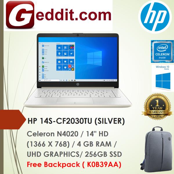 HP 14S-CF2030TU LAPTOP (CELERON N4020,4GB,256GB,14 HD,UHD GRAPHICS,WIN10) FREE BACKPACK Malaysia