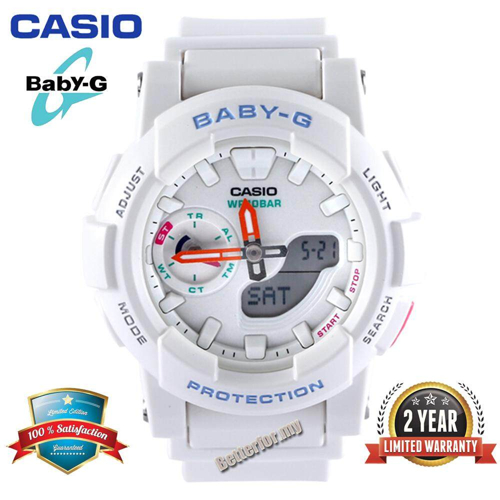(Ready Stock)Original Casio Baby G_BGA-185-7A Women Sport Watch Duo W/Time 100M Water Resistant Shockproof and Waterproof World Time LED Light Girl Wist Sports Watches with 2 Year Warranty BGA185/BGA-185 White Malaysia