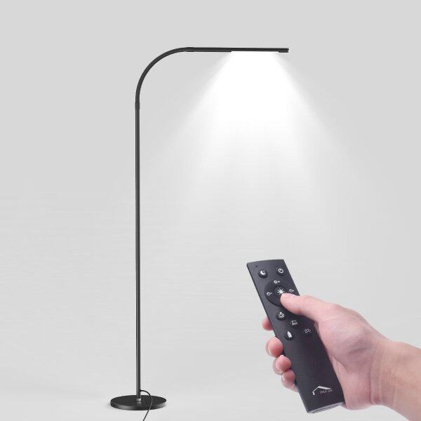 LED Modern Floor Lamps, Flexible Gooseneck Standing Reading Light W/Stable Base, 4 Color & 5 Brightness Dimmer, Touch & Remote Control, for Living Room, Chair, Couch, Office Task (Black)