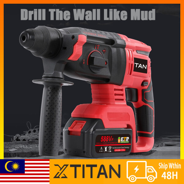 【Stockin KL】XTITAN 588VF Professional Brushless Heavy Duty Rotary Hammer Drill Cordless Impact Drill 4 Function  Demolition Kit