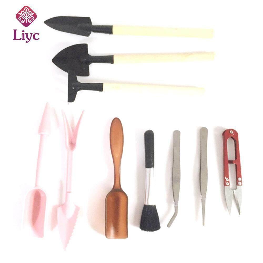 Liyc 10 pcs Mini Garden Tools Set Plant Shovel Gardening With Wooden Handles Metal Head Gardener Bonsai Tool Garden Tools