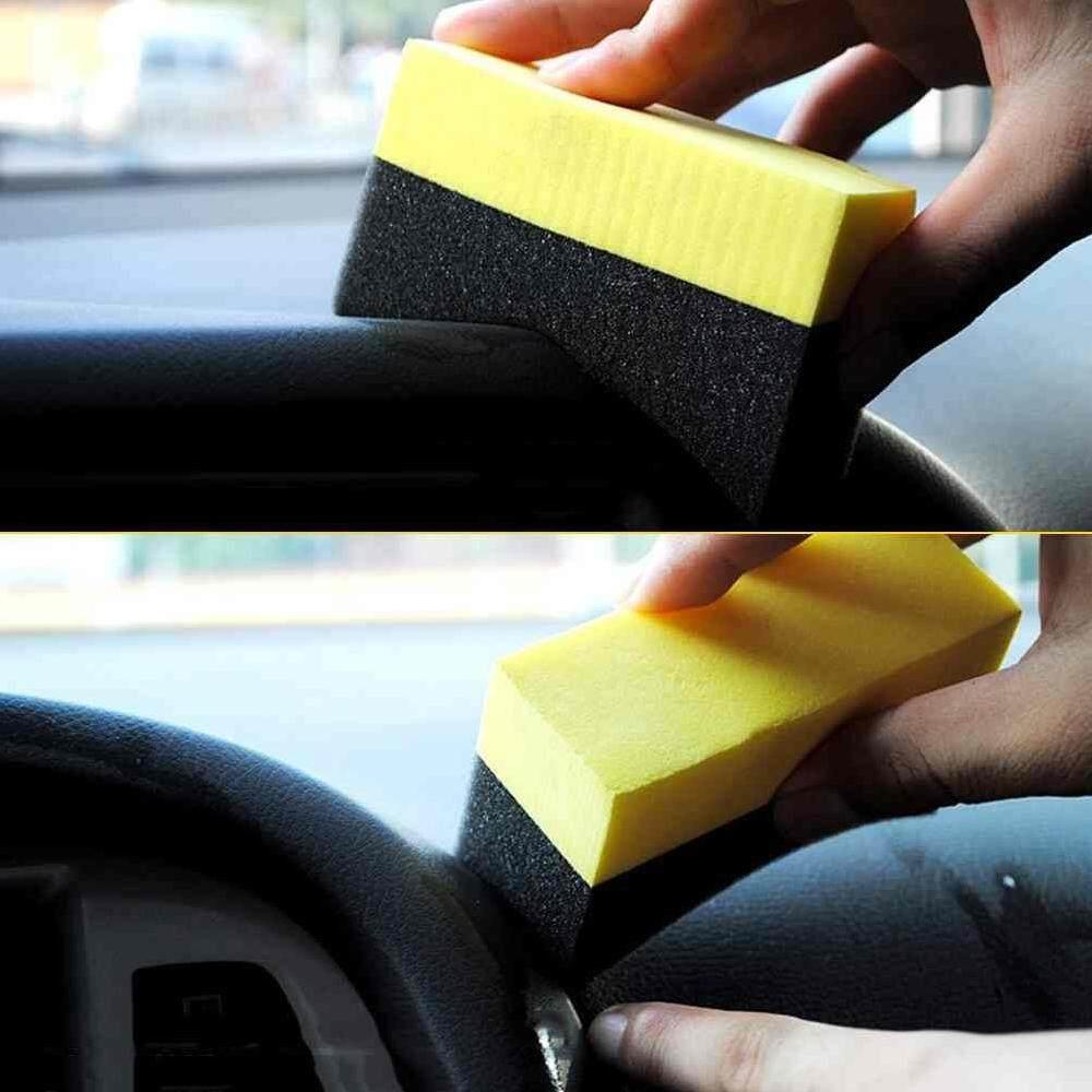 Auto_motor 2pcs Car wash U-Shape Tire Wax Polishing Compound Sponge ARC Edge Sponge Tyre Brush car Cleaning Sponge products for car accessorie