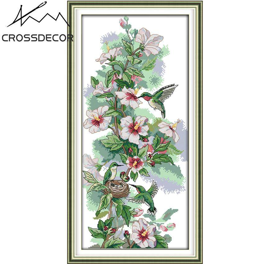 The Morning Dew Hummingbird Family Precise Stamped Cross Stitch Complete Set DIY Handmade Embroidery Needlework 11CT DMC Threads Kits Pattern Pre-Printed On the Cloth Home Room Decor