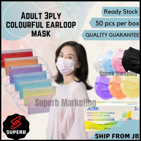 [PRE-ORDER] ALTER Earloop Adult 50pcs 3ply Colourful Face Mask Colour (Box) Disposable Black | White | Green |Grey| Pink Color Mask (ETA: 2021-06-25)