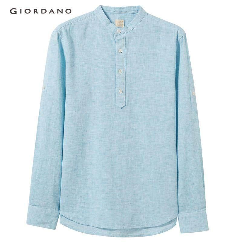 ab45b8764 Giordano Men Linen-cotton half-placket slim shirt  Free Shipping  01047218