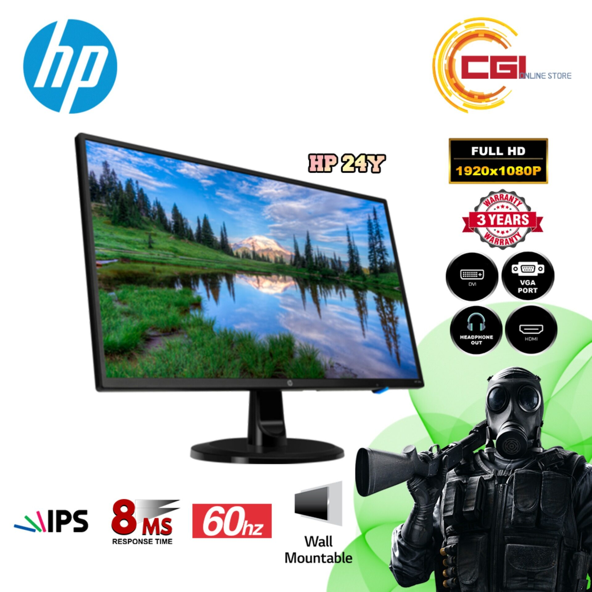 HP IPS Monitor 24Y 23.8  FHD Display - 1PX48AA (HDMI,DVI,VGA) Malaysia