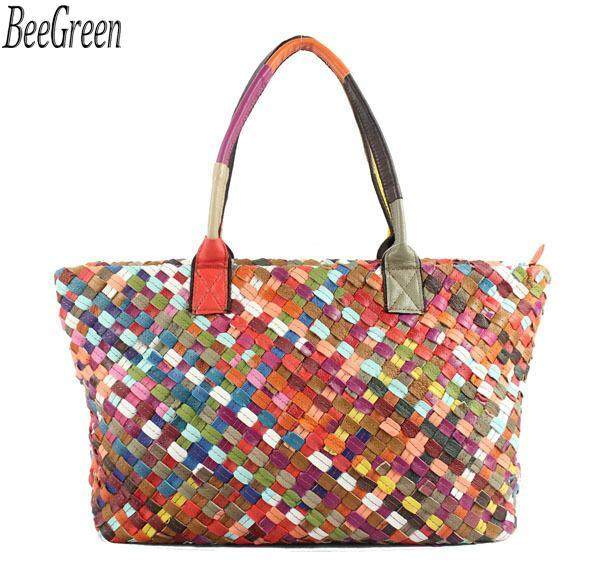 BeeGreen Vintage Handmade Woven Bag Sheepskin Handbag Colorful Single Shoulder Bag