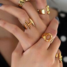 Nhẫn Chữ Cái A-Z chất liệu mạ Vàng dành cho Phụ Nữ Có Thể Điều Chỉnh kích cỡ – INTL
