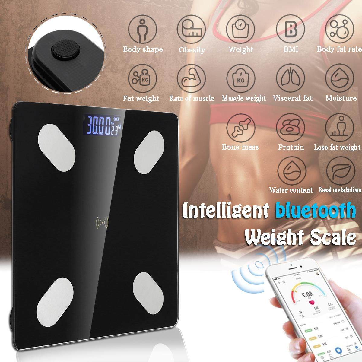 Max 180KG bluetooth Wireless Digital Body Health Weight Scale Body Fat Scale Measures Black