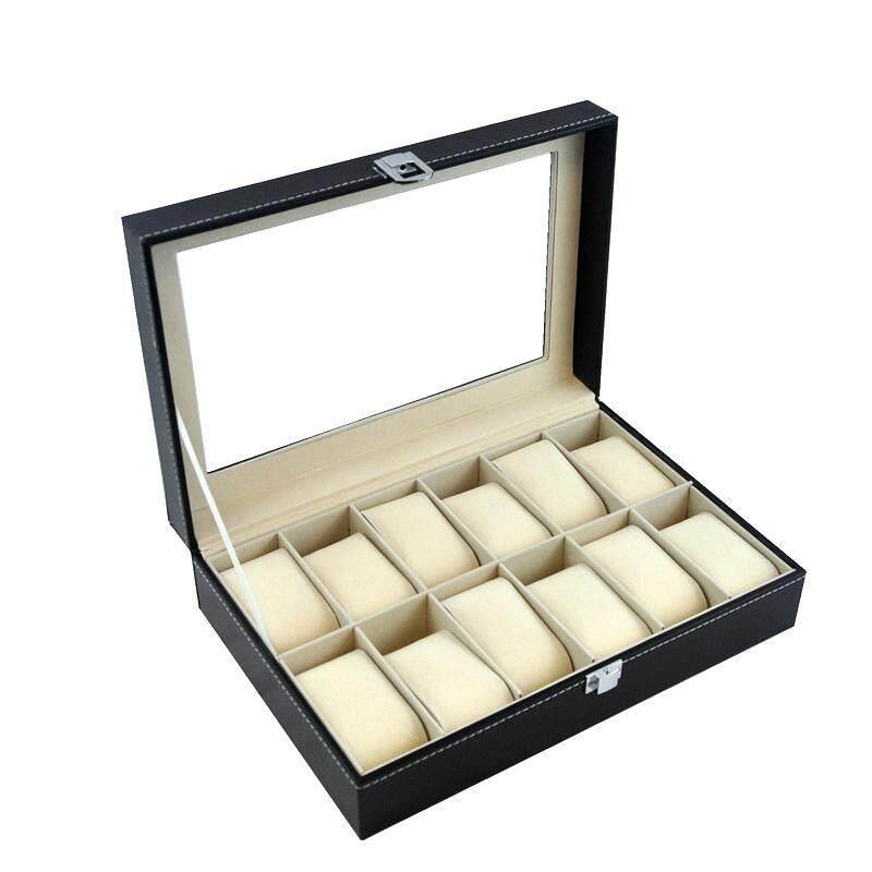 PU Leather Watch Case Storage Box s 12 slot