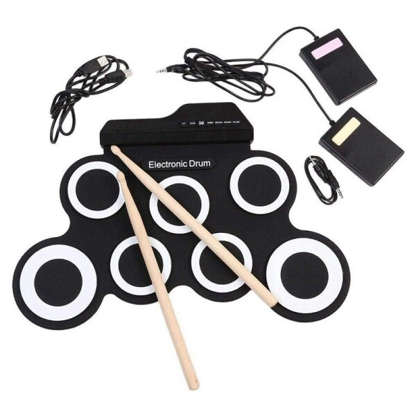 Digital Electronic Roll Up Drum Pad Set Kit - Portable Silicone USB 7 Pads with DrumSticks Foot Pedal Headphone Jack