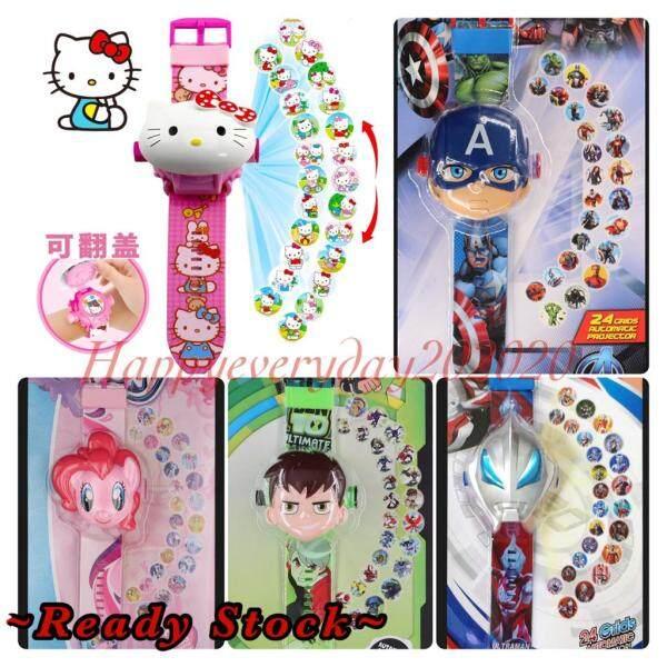 🔥Ready Stock🔥 Ultraman Ironman Pony Hello Kitty Ben10 Spiderman Elsa Cartoon Projector Watch Children Watch Kid Watch Malaysia