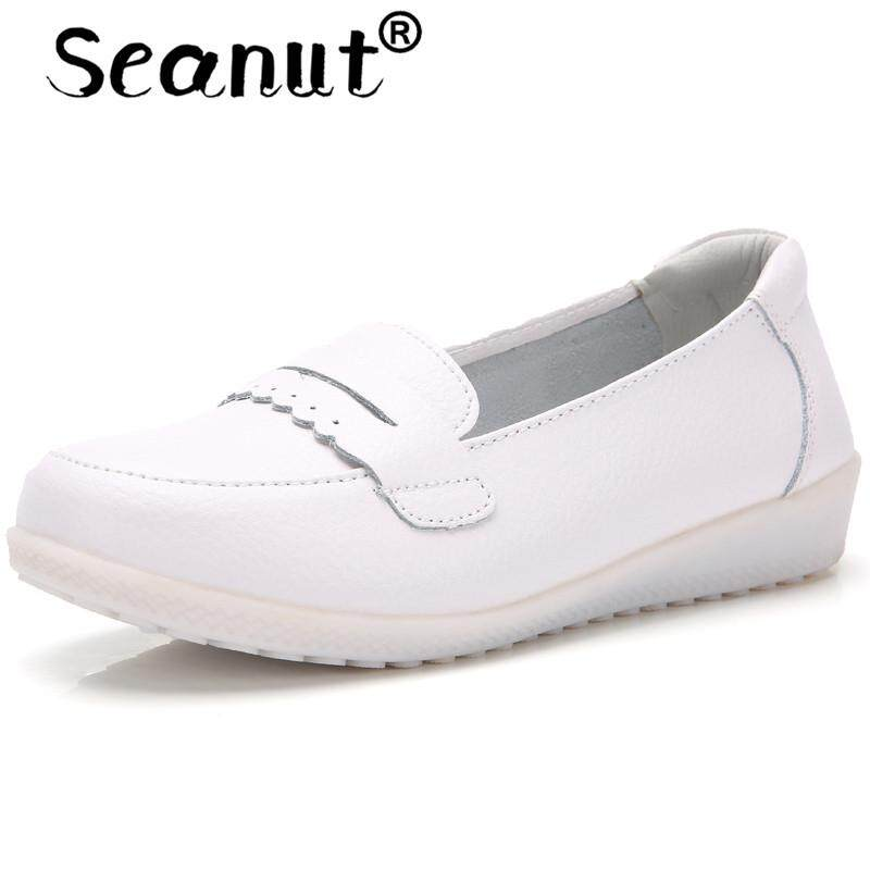 Seanut Women Cow Leather Loafers Ballet Flats White Shoes Ladies Slip On Loafers Boat Shoes Moccasins