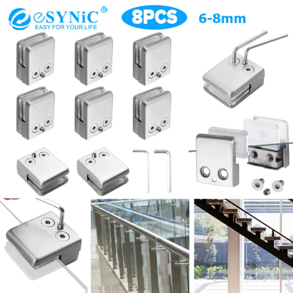 eSYNIC 16Pcs/8Pcs Stainless Steel 304 Glass Clamp  Brushed Finish Square Glass Clip for Handrail Window 8-10mm Medium/10-12mm Large