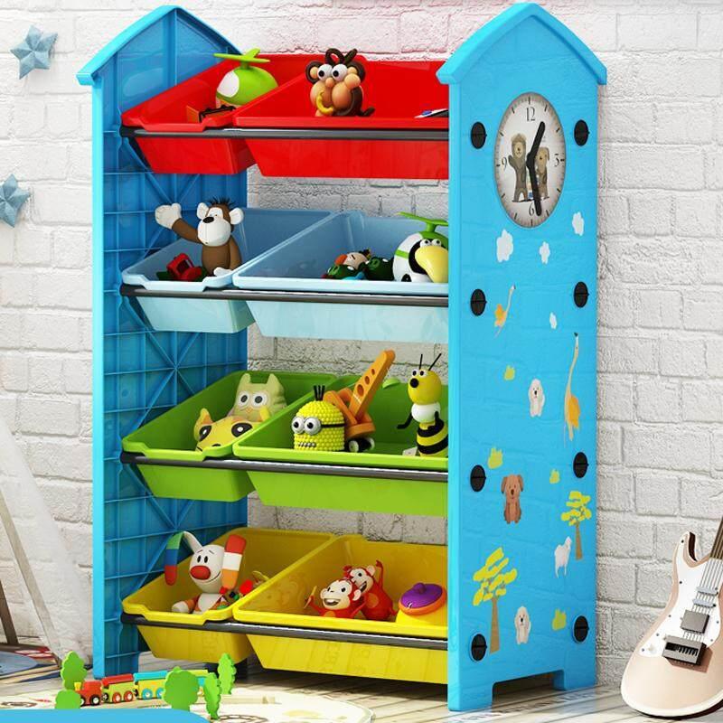 RuYiYu - 62 X 30 X 84cm / L W H, 4 Layers Kids Toy Organizer and Storage Bins, 8 Bins in Fun Colors, Toy Storage Rack