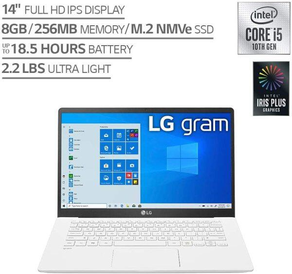 LG Gram Laptop - 14 Full HD IPS Display, Intel 10th Gen Core i5-1035G7 CPU, 8GB RAM, 256GB M.2 MVMe SSD, Thunderbolt 3, 18.5 Hour Battery Life - 14Z90N (2020) Malaysia
