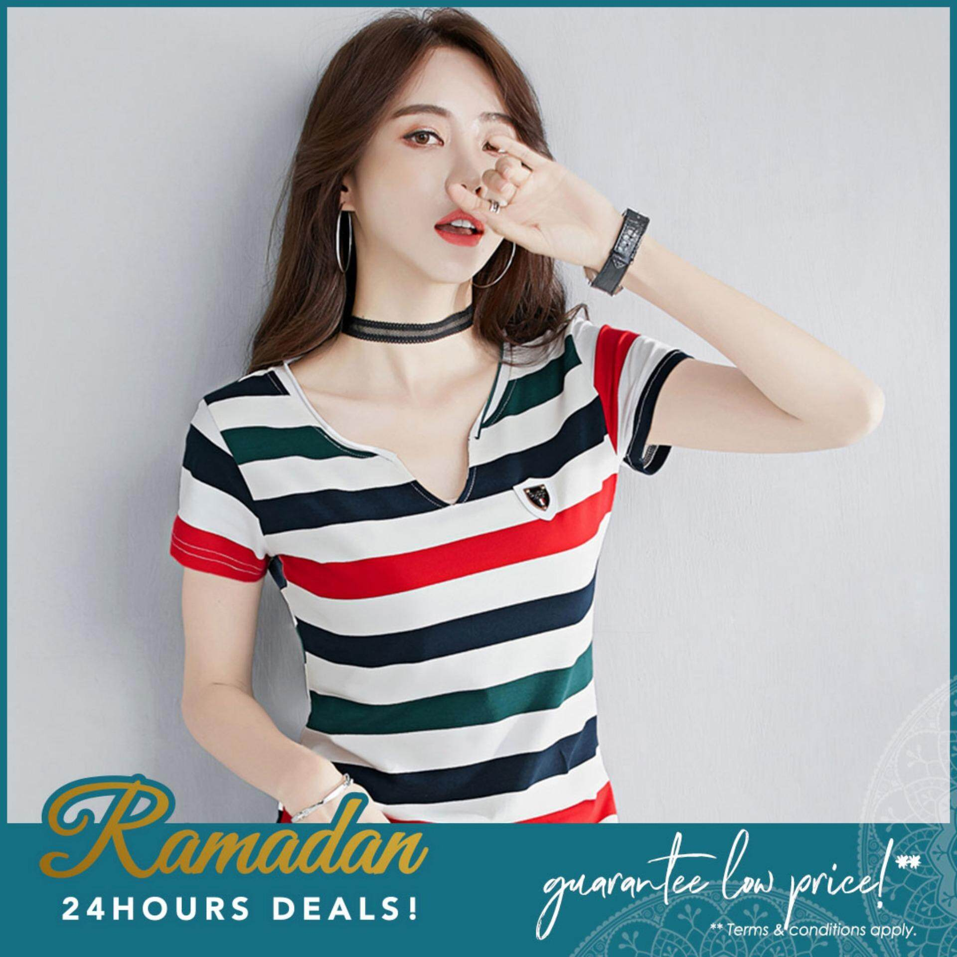 03c83f5d8bb 【READY STOCK】Summer Women Tops Casual FULL COTTON Short Sleeve Color  Striped Design V