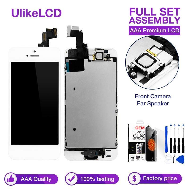 Paket Lengkap Layar LCD Lengkap untuk iPhone 5 Layar LCD Paket Lengkap Sentuh Layar Digitalisasi Tombol Home & Depan Penggantian Lensa Kamera Bagian A1428/A1429/A1442