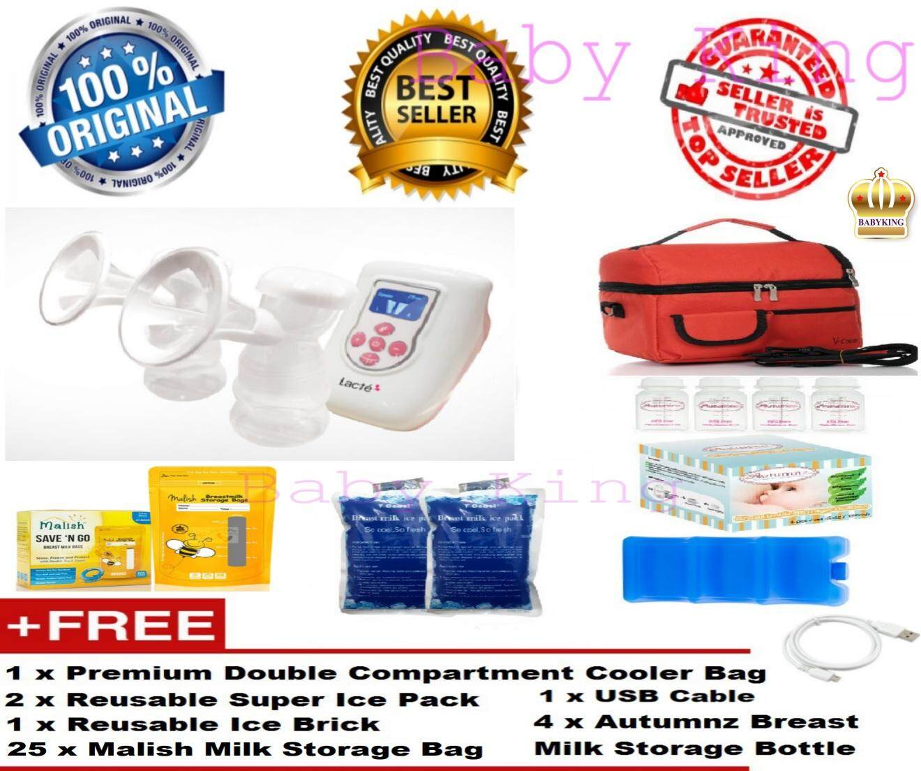 [free Shipping] Original Lacte Duet Electric Double Breast Pump + Free Gifts By Baby King.