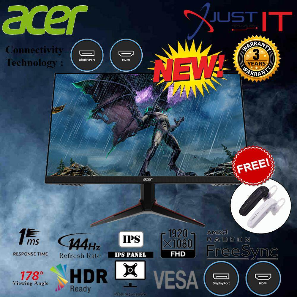 ACER NITRO VG270P 27 FULL HD IPS 144Hz 1MS HDR READY FREESYNC LED GAMING MONITOR [ FREE BLUETOOTH HEADPHONE WORTH RM49] Malaysia