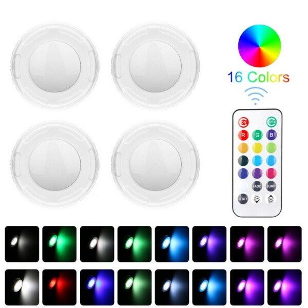 Bảng giá Điều Khiển Từ Xa LED Ánh Sáng Ban Đêm Đèn Led Dưới Tủ 12 Màu RGB Có Thể Điều Chỉnh Độ Sáng LED Puck Ánh Sáng Cho Cho Nhà Bếp Showcase Cầu Thang